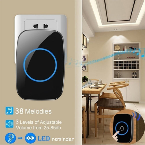 New Arrival Wireless Waterproof Doorbell 1 Button 1 Receiver 300M Remote Control 38 Chimes Door Bell Smart LED Door Ring