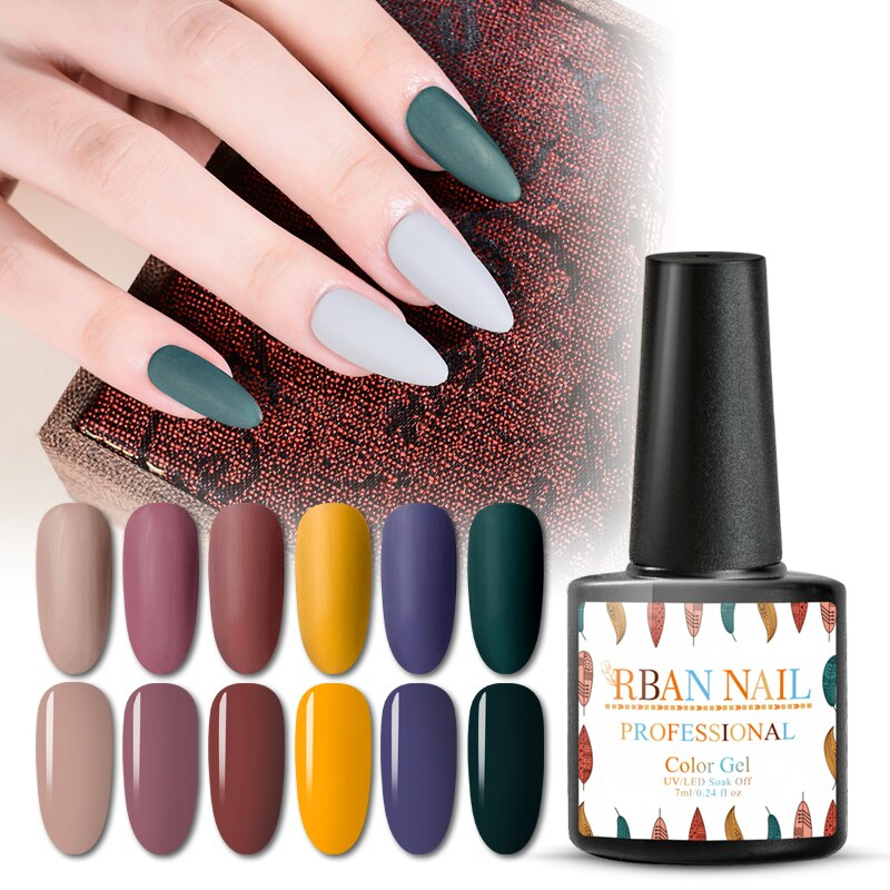 RBAN NAIL 7ML Color UV Gel Nail Polish Soak Off Semi Permanent Nail Art Lacquer Gel Paint Nails Manicure Matte Top Coat Needed