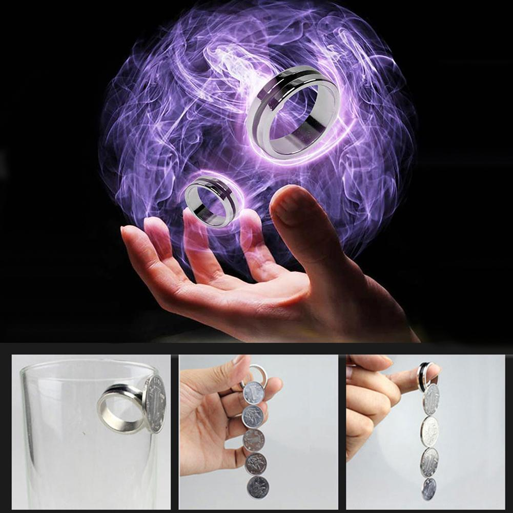 Black Circle Pk Ring Magic Tricks Strong Magnetic Magnet Ring Coin Finger Decoration 18/19/20/21mm Size Magic Rings Props Tools