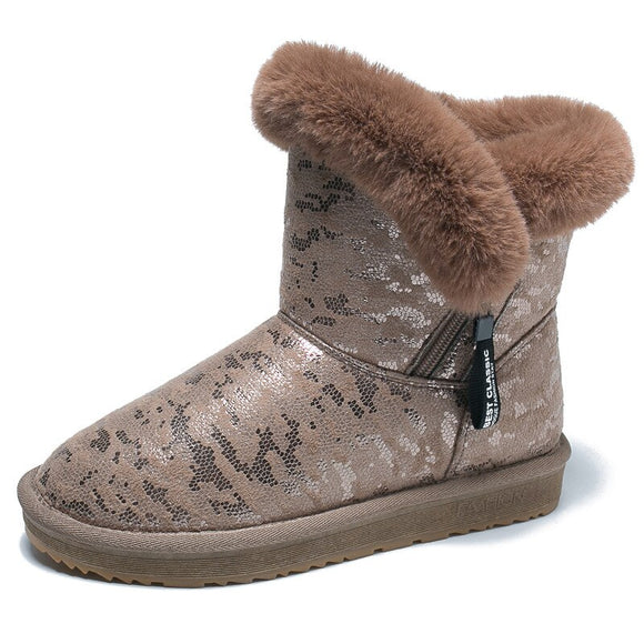 Fashion Women Snow Boots Winter Warm Boots Female Bare Flat Shoes Cotton-Padded Boots