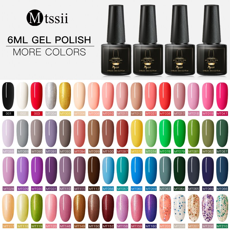 Mtssii 6ml Color Gel Nail Polish Set UV Vernis Semi Permanent Long Lasting Nail Gel Varnish Soak Off Lacquer Nail Art Manicure