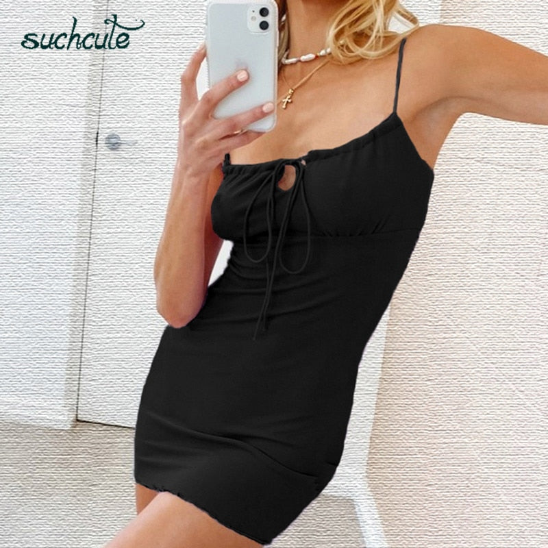 SUCHCUTE women mini dress Spaghetti Straps Drawstring Black dress spring 2020 gothic split vintage indie fashion party outfits