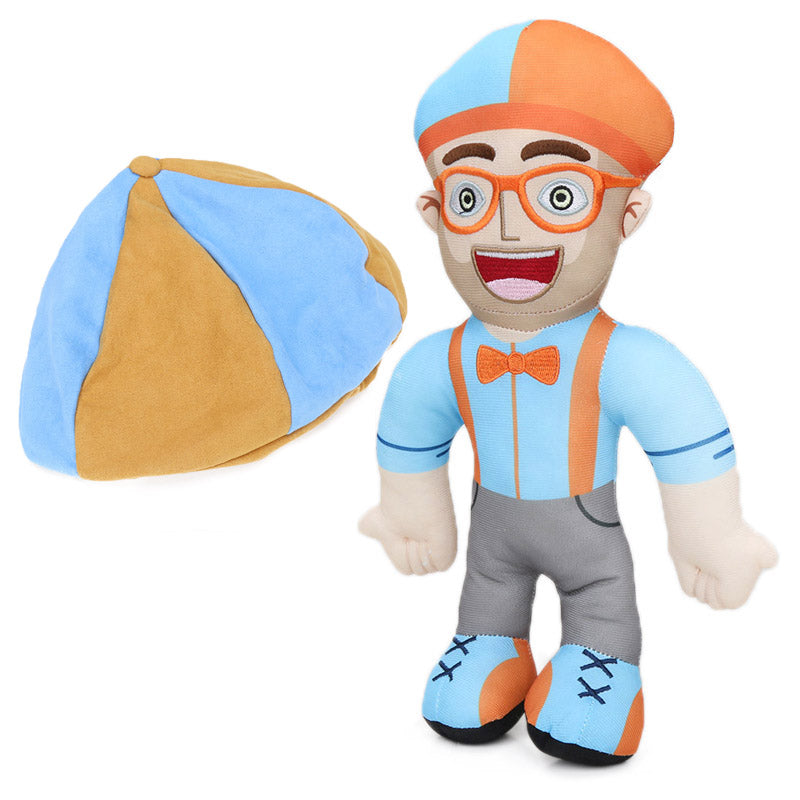Blippi Plush Baby Toys 12.6inch Soft Stuffed Educational Dolls for Toddlers Blippi Hat Cosplay Prop Baby Gift Plushie