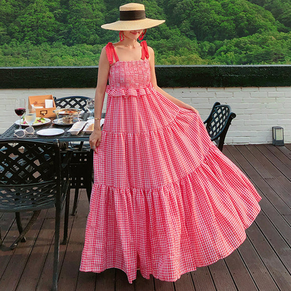 LANMREM Lattice Sling Strapless Ruffled Bow Tie Sweet Long Dress Wild Simple Fashion Loose Woman 2020 Spring New TC1016