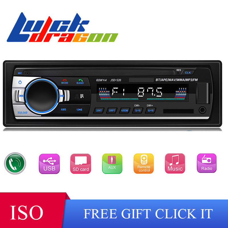 jsd-520 12V Bluetooth Car Stereo FM Radio MP3 Audio Player 5V Charger USB SD AUX Auto Electronics Subwoofer 1 DIN Autoradio