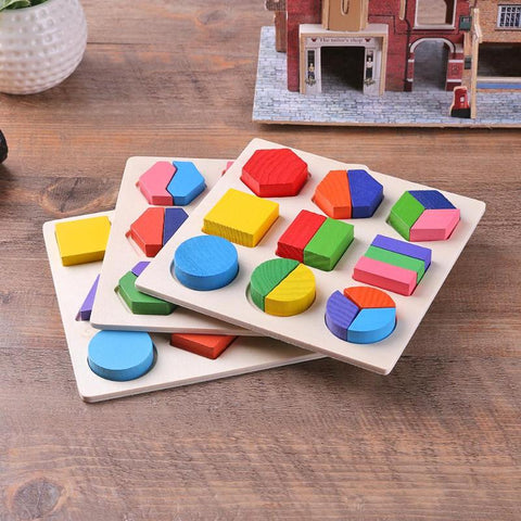 Adjustable Wooden Colorful Animal Brick Puzzle Baby Kids Toddler Toy P1US