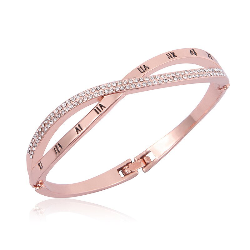 Fashion Retro Women's Bracelet Bangle Round Crystal  Alloy Cross Stainless Steel Bracelets Bangles Women Hand Jewelry