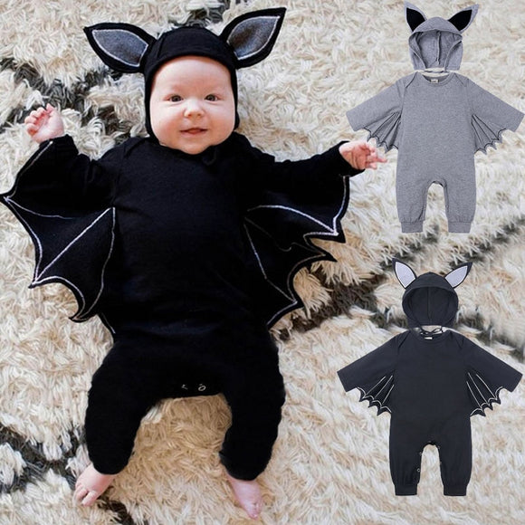 Halloween Costume Romper Hat Outfits Set Novelty bat Sleeve New Baby Rompers Cute Cartoon Infant Girl Boy Kids COutfits lothes
