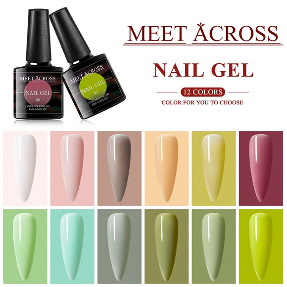8ml Color Gel Nail Polish Set Hybrid Varnish Soak Off UV LED Gel Semi Permanent Nail Art Manicure Gel Polish Kit Matte Top Coat
