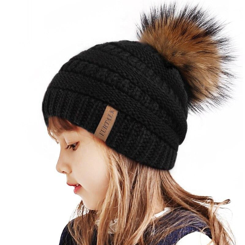 FURTALK Kids Winter Hat Boy Girls Real Raccoon Fur Pom Pom Hat Child Warm Knit Fleece Beanie Hat Slouchy Cap for 2-10 Years Baby