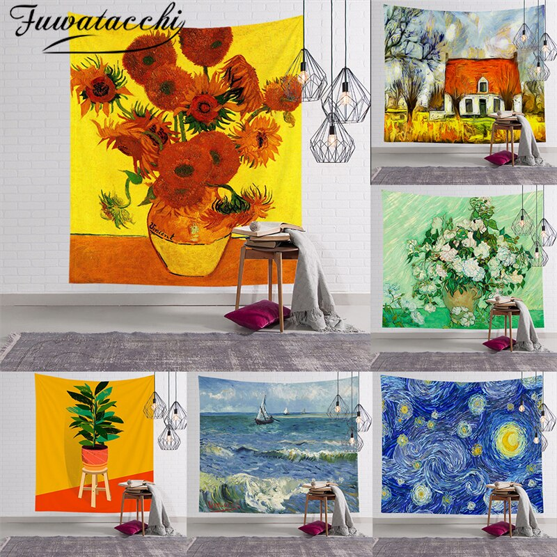 Fuwatacchi Oil Painting Flower Tapestry Wall Hanging Tapestries Camping Tent Travel Mattress Sleeping Tapestry Throw Rug Blanket
