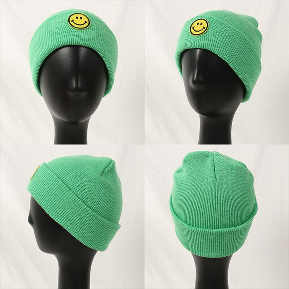The Baby Autumn And Winter Warm Hat Boys Girls Knitting Smiling Face Winter Sports And Children's Pure Color Caps