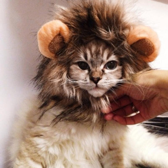 Funny Cute Pet Cat Costume Lion Mane Hair Cap Hat For Cat Dog Halloween Christmas Clothes Fancy Dress With Ears Cat Costumes