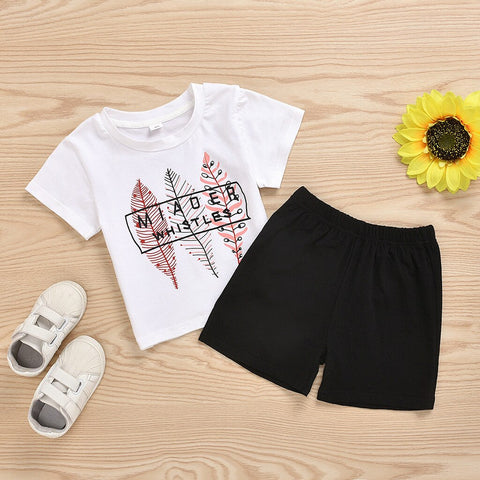 Newborn Baby Boys Girls Letters Print Short Sleeve T-shirt Top PU Shorts Outfits Clothes Set