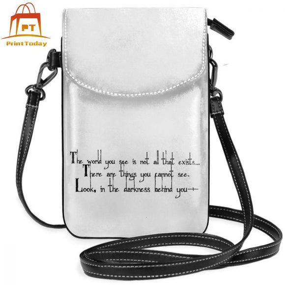 Gegege Shoulder Bag The World You See Quote Black On White Leather Bag Trending Street Women Bags Crossbody High quality Purse