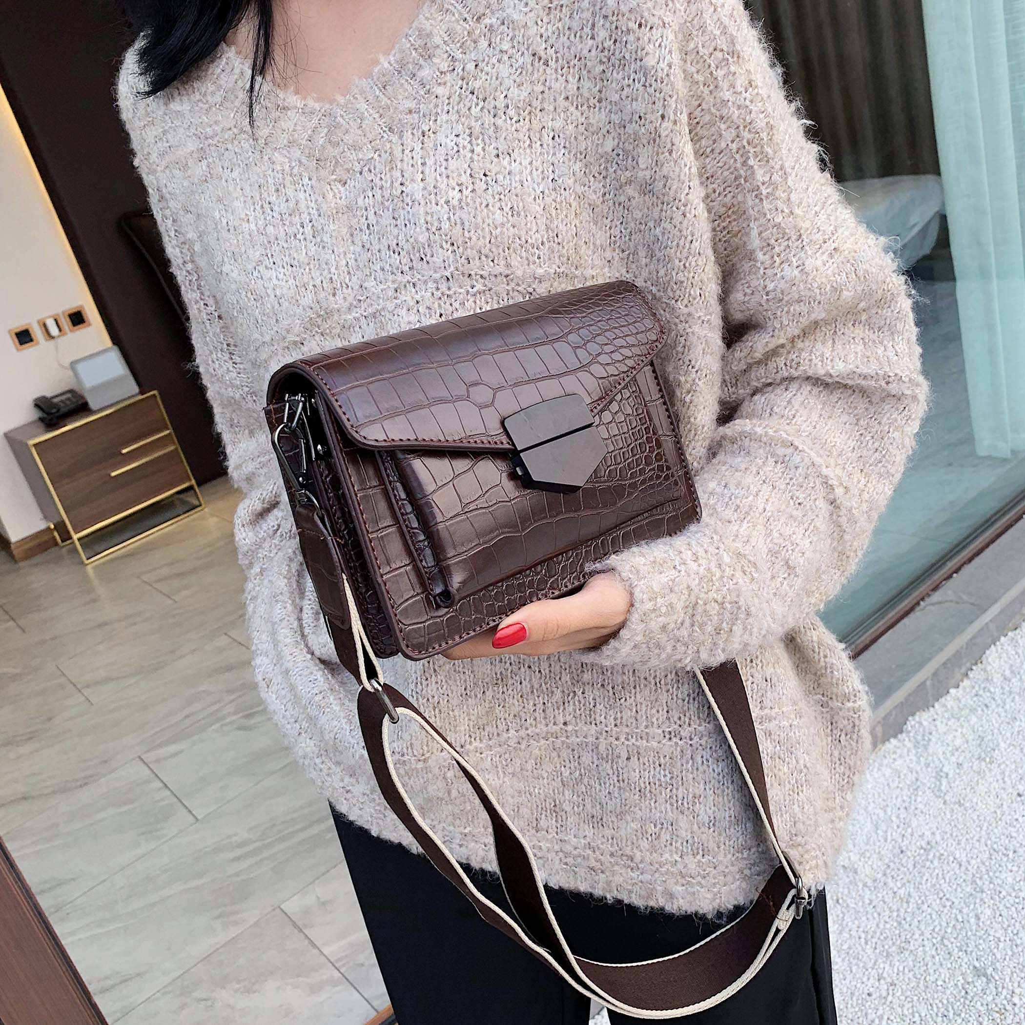 2019 Mini Shoulder Messenger Bag Female Travel Handbags and Purses Mini Stone Pattern PU Leather Crossbody Bags for Women