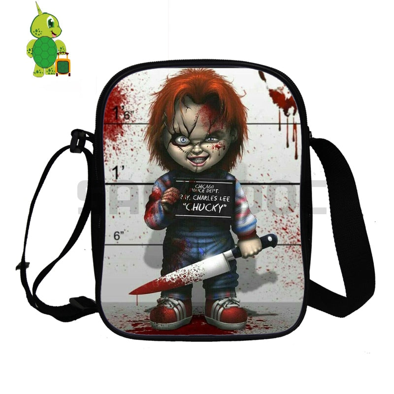 Horror Seed of Chucky Mini Shoulder Bag Double Layer Handbags Purses Phone Bag for Teenage Girls Boys Crossbody Travel Bag