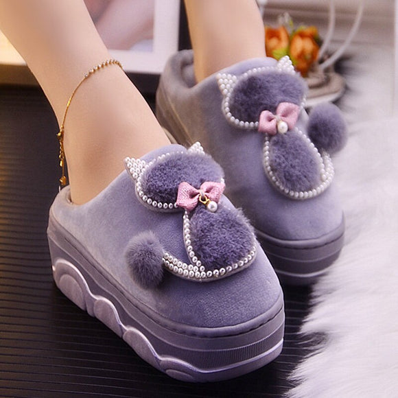 High Quality Women Winter Slippers Platform Warm Home Slippers Cartoon Pearl Female Shoes Short Plush Furry Slides for Woman