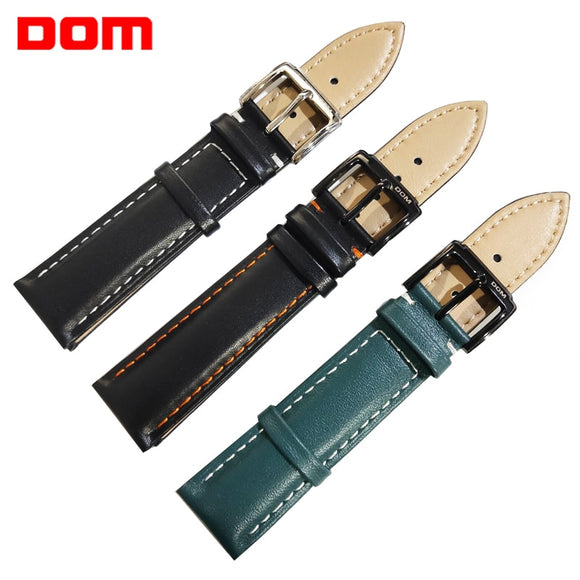 DOM Leather Watchband Genuine Leather Strap  20mm Buckle Clasp Men Black Green Watch Band High Quality Watch Accessories