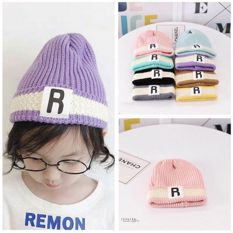 Cute Baby Girls Kids Knitting Caps Beret Wool Crochet Beanie Cap Warm Hat