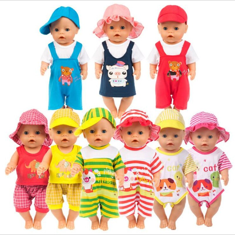 High-quality Doll Clothes Born Baby Fit 18 inch 43cm Unicorn Pink Yellow Hat Elephant Animal Spring Suit For Baby Birthday Gift