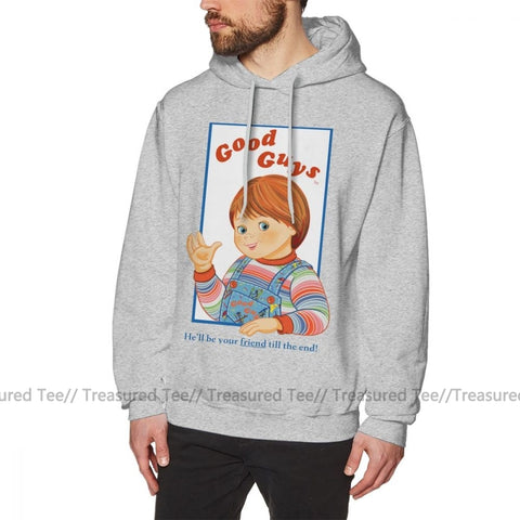 BLACK CHUCKY CHILD/'S PLAY LEFT CHEST MEN/'S HOODED SWEATER HOODIE NEW