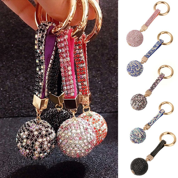 Fashion Car Keychain Rhinestone Key Chain Cute Ball Pendant Purse Bag Key Ring Keychain Car Decoration           Auto Accessorie
