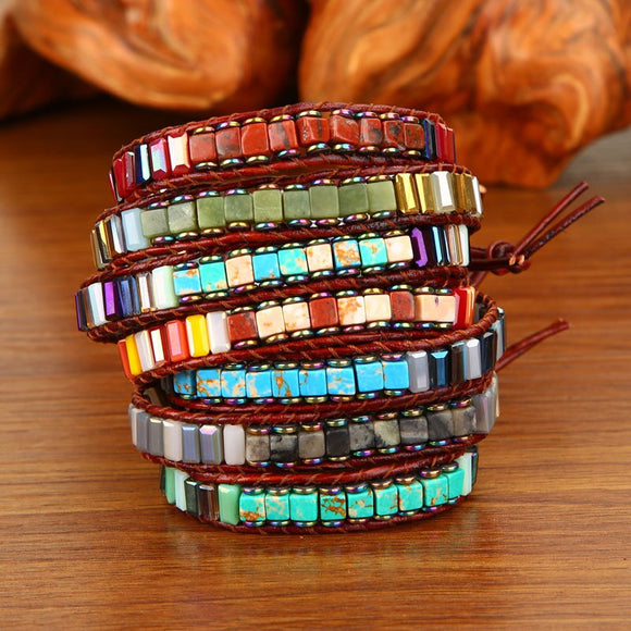 Handmade Chakra Bracelet Jewelry   Multi Color Natural Stone Tube Beads Weave Leather Wrap Bracelet Couples Bracelets Gifts