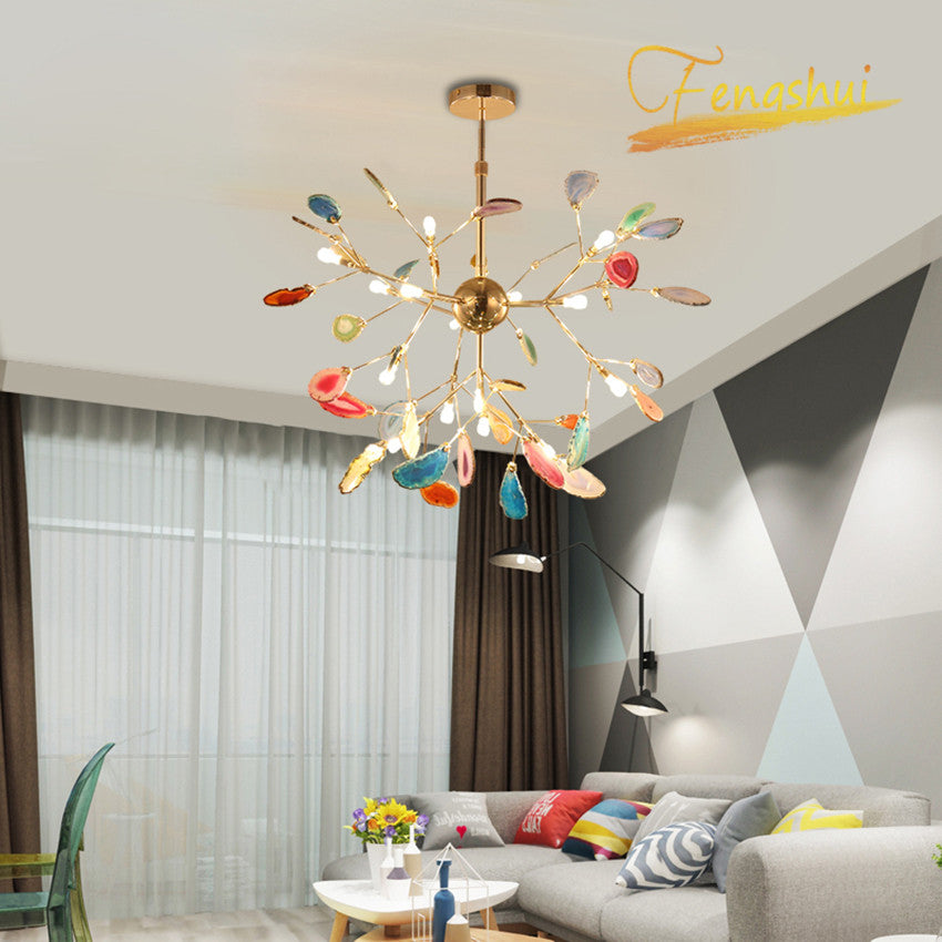 Modern Art Firefly LED Chandelier Nordic Creative Agate Chandelier Bedroom Dining Room Living Room Loft Decoration Hanging Lamps