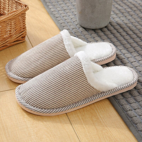 Women's Slippers for Home Suede Striped Plush Slippers Winter Velvet Warm Slippers Comfortable Non Slip Women Shoes