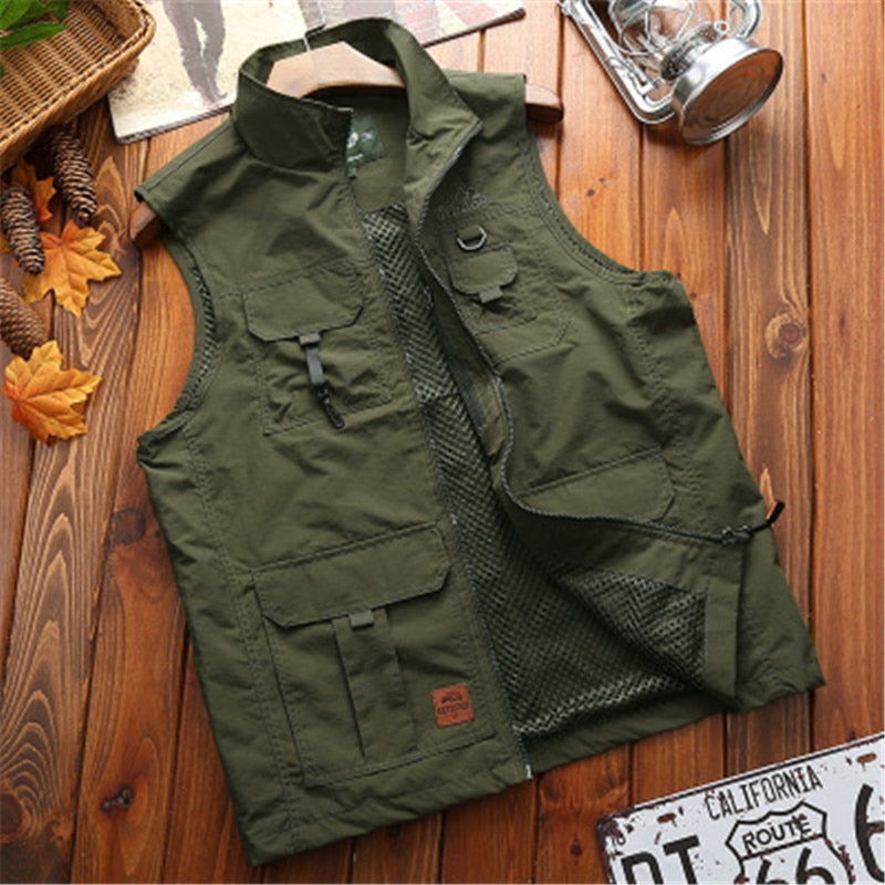 Summer Cargo Vest Men Green Tactical Sleeveless Jacket Mens Outdoor Fishing Hiking Camping Photographer Waistcoat Male Clothes