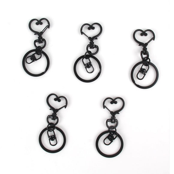 Classic Keychain Stainless Steel Black Love Key Chain Star Key Ring Ladies Pouch Key Accessories Anti-lost Couple Keychain