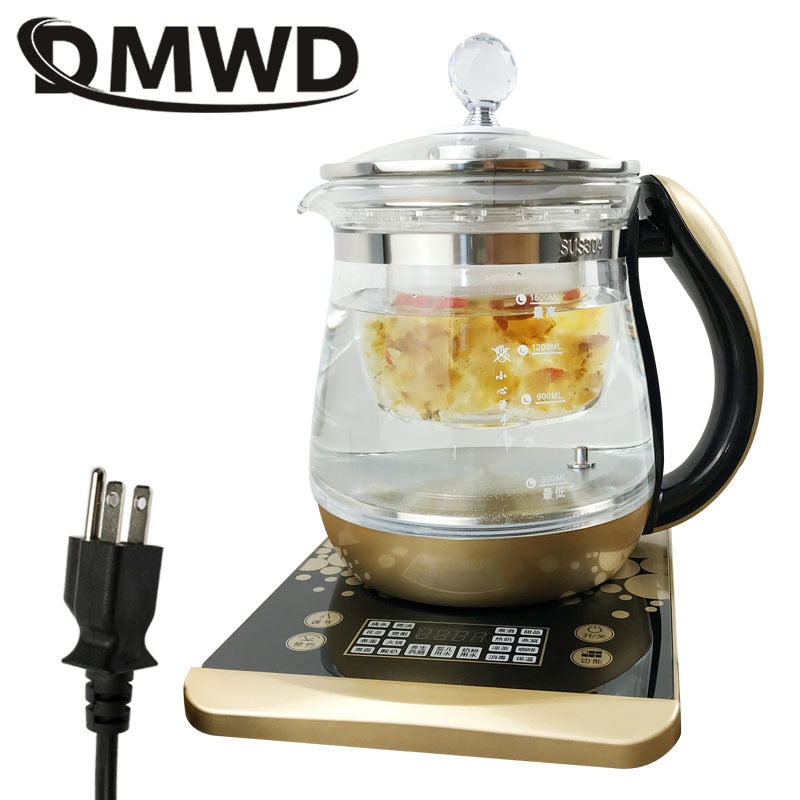 DMWD 110V Multifunction Electric Preserving Health Kettle Tea Pot Glass Hot Water Heating Boiler Thermal Flower Teapot Filter US