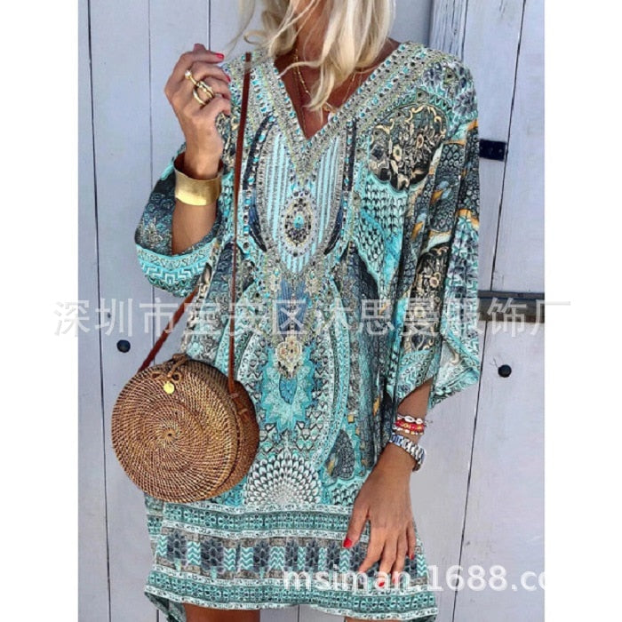 2020 Summer Dress Woman Bohemian Style Woman Vestido Printing Woman Dress