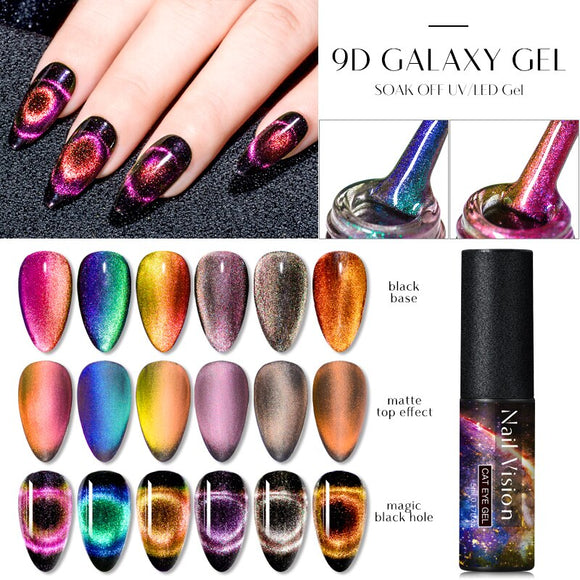 Nail Vision 5 ML Magnet 9D Cat Eye Effect UV Gel Nail Polish Chameleon Magnetic Gel Varnishes Manicure Soak Off Enamel UV Polish