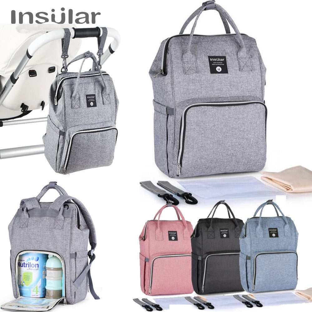 Diaper Backpack Insular Large Capacity Baby Stroller Bags Multi-Function Travel Mummy Diaper Bags Fashion Nappy Nursing Bag