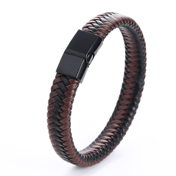 Stylish Simple Men Leather Bracelet Punk Leather Bangle Black Red Handmade Stainless Steel Buckle Bracelets Jewelry