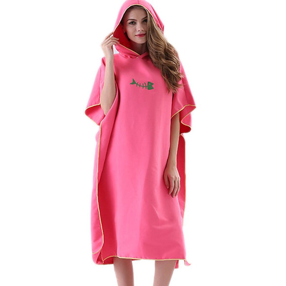 New Quick Drying Changing Robe Bath Towel Outdoor Adult Hooded Beach Towel Poncho Women Men Bathrobe Towels Swimsuit Cloak Pink