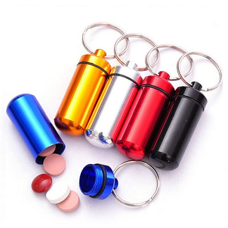 Waterproof Aluminum Pill Box Case Bottle Cache Drug Holder Container Keychain Medicine Box Health Care Easy To Carry Outdoors
