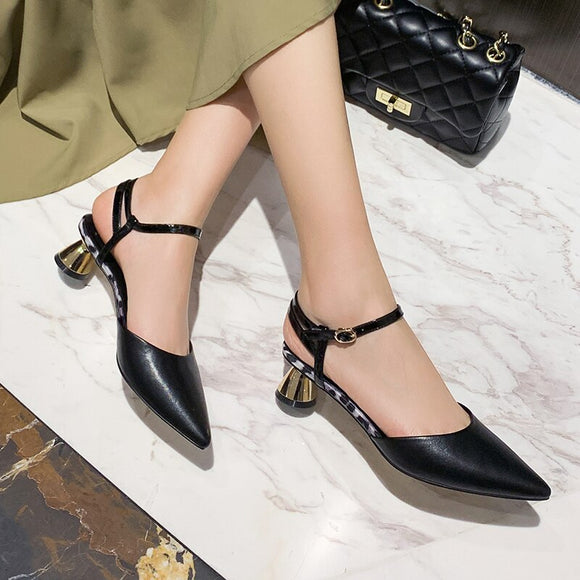 2020 Pointed Toe  Heels Casual Shoes Black Beige Slip-ons Women Pump Dress Working Shoes 11802ABX3997