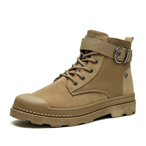 Men Winter Canvas Military Combat Hiking Work High Top Shoes Sports Ankle Boots