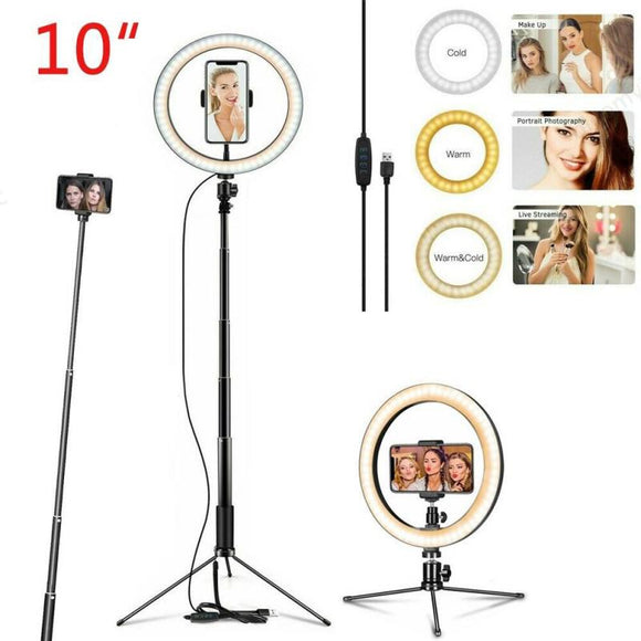 26cm LED Selfie Ring Light Dimmable Ring Lamp Photo Video Camera Phone Light Ring Lights Fill Light For YouTube Live