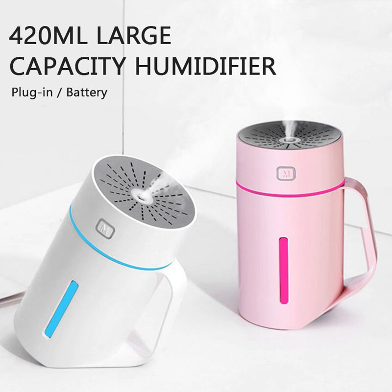 420ml Air Humidifier Soft Light USB Essential Oil Diffuser Car Purifier Aroma Anion Mist Maker Nano Atomization For Home
