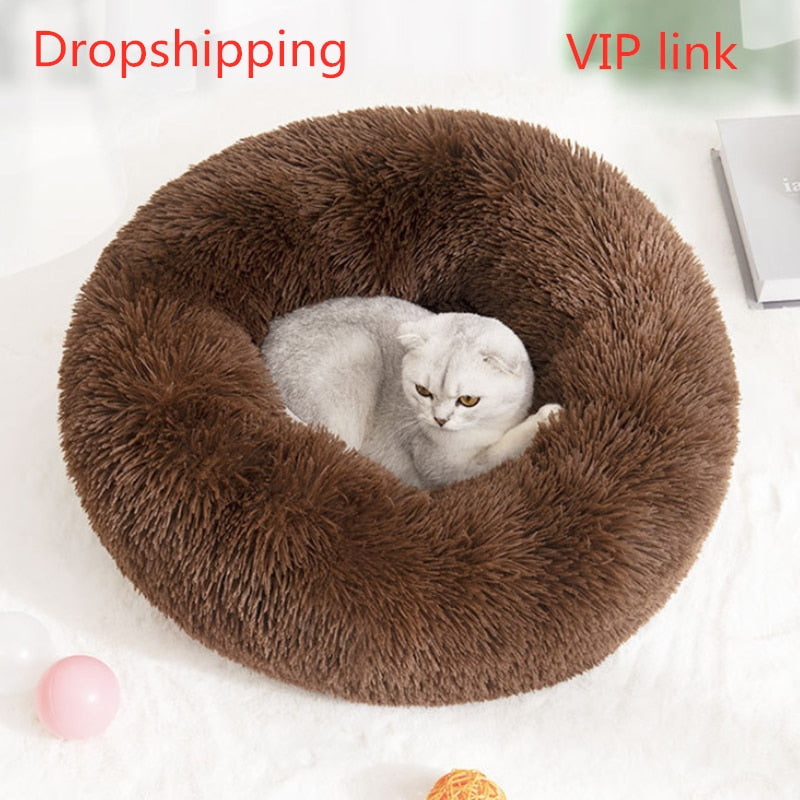 Pet cat bed dog bed basket big bench dog bed cat bed dog bed pet supplies sofa dog house cat bed round large cushion products