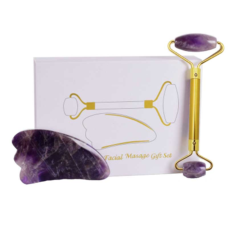 Natural Amethyst Jade Roller Facial Massager Slimming Face Roller Lifting Tool Gua Sha Stone Skin Massage Beauty Care Set Box