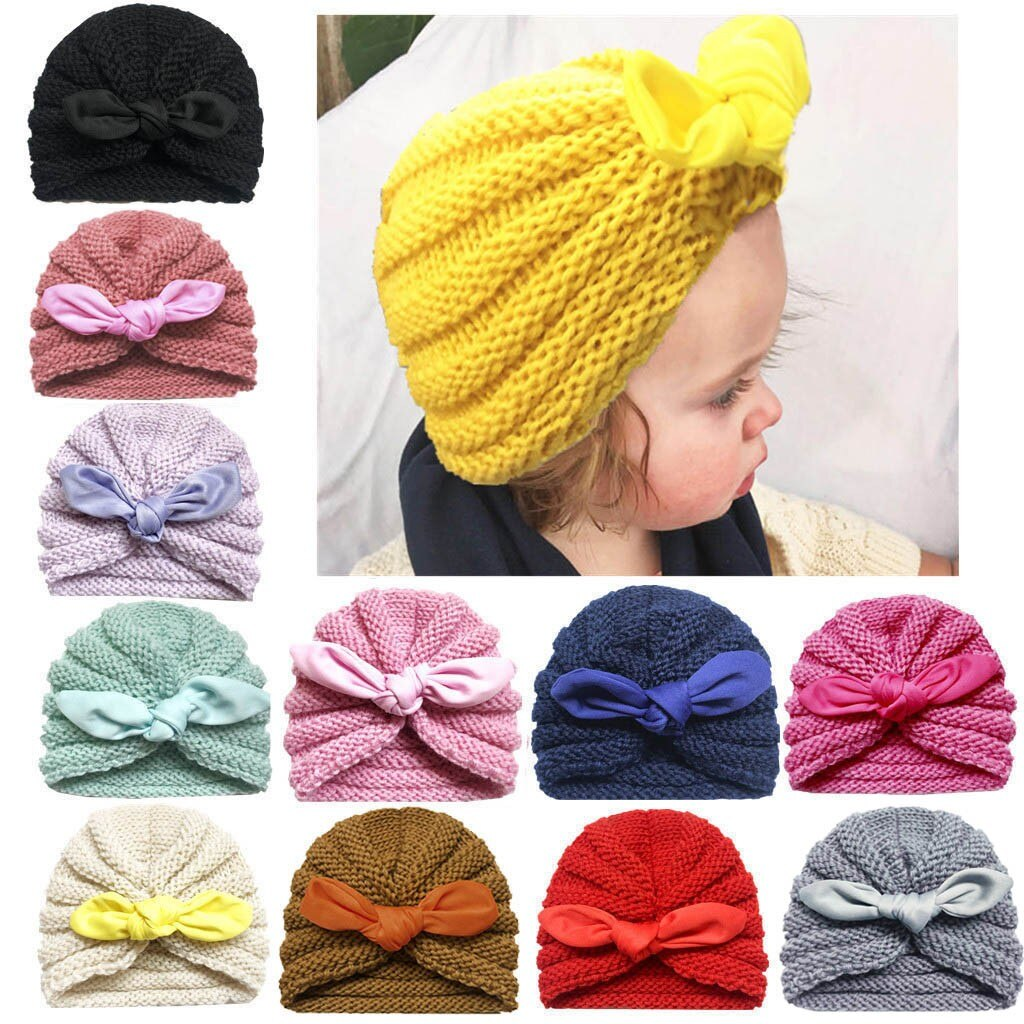 Knitted Winter Baby Hat for Girls Candy Color Bonnet Enfant Baby Beanie Turban Hats Newborn Baby Cap for GirlsAccessories HOOLER