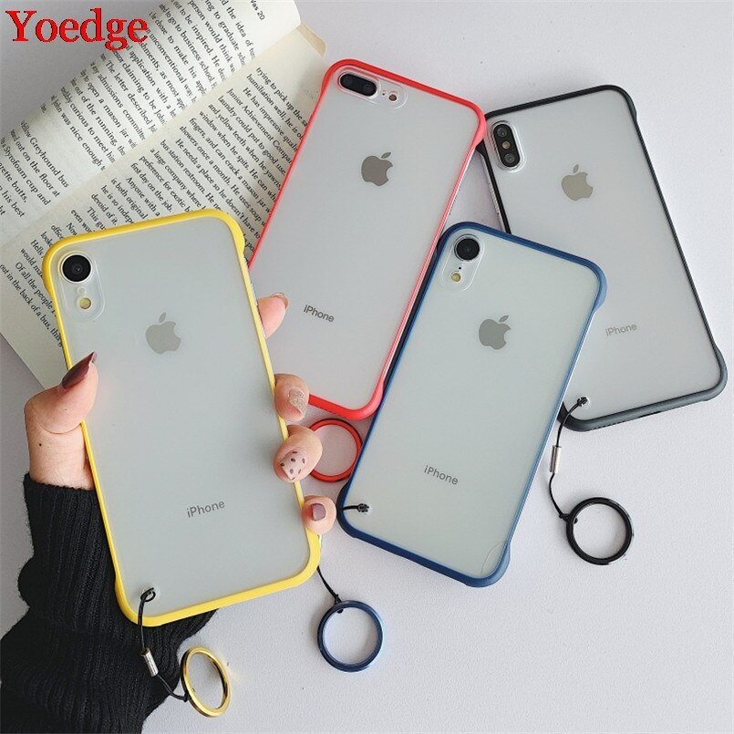 Frameless Transparent Phone Case For iPhone XR 7 6 6S 8 Plus 10 X XS Max 11 Pro Max With Finger Ring Shockproof Matte Back Cover