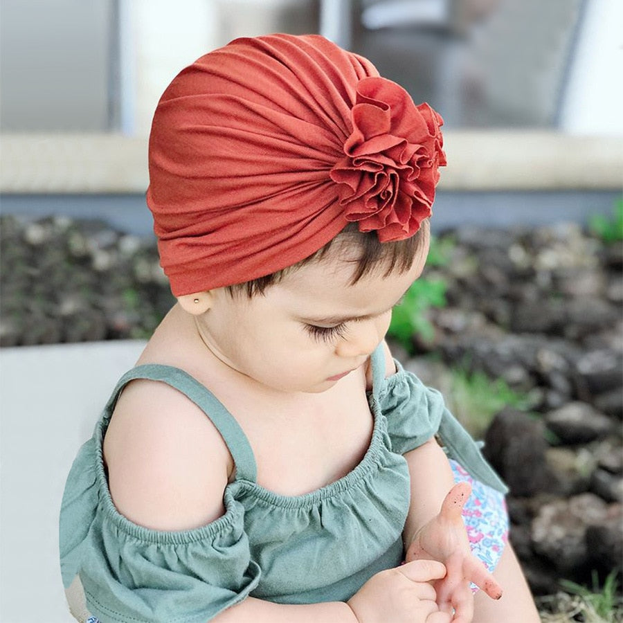 Hot Selling New Style for Autumn and Winter Children's Pleated Flower Hat Newborn Indian Hat Baby Cotton Hat baby pom pom hat
