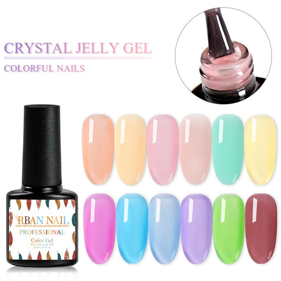 RBAN NAIL 7ML Jelly Nail Gel Transparent Pink Nude UV Gel Nail Polish Long Lasting Jelly Painting Art Nail Lacquer Gel Polish