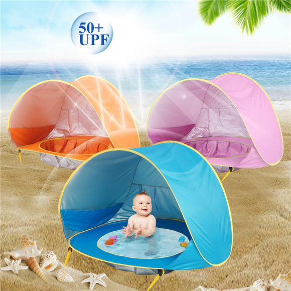 Children's Tent Sun Awning Baby Beach Tent Children Waterproof Pop Up Tents UV-protecting Sunshelter Kid Outdoor Camping House